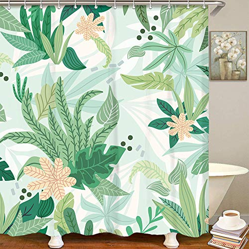 LIVILAN Grünes Blatt Duschvorhang, Sommerstoff, Badezimmer-Gardinen-Set mit Haken, Blumenmuster, 183 x 183 cm, maschinenwaschbar