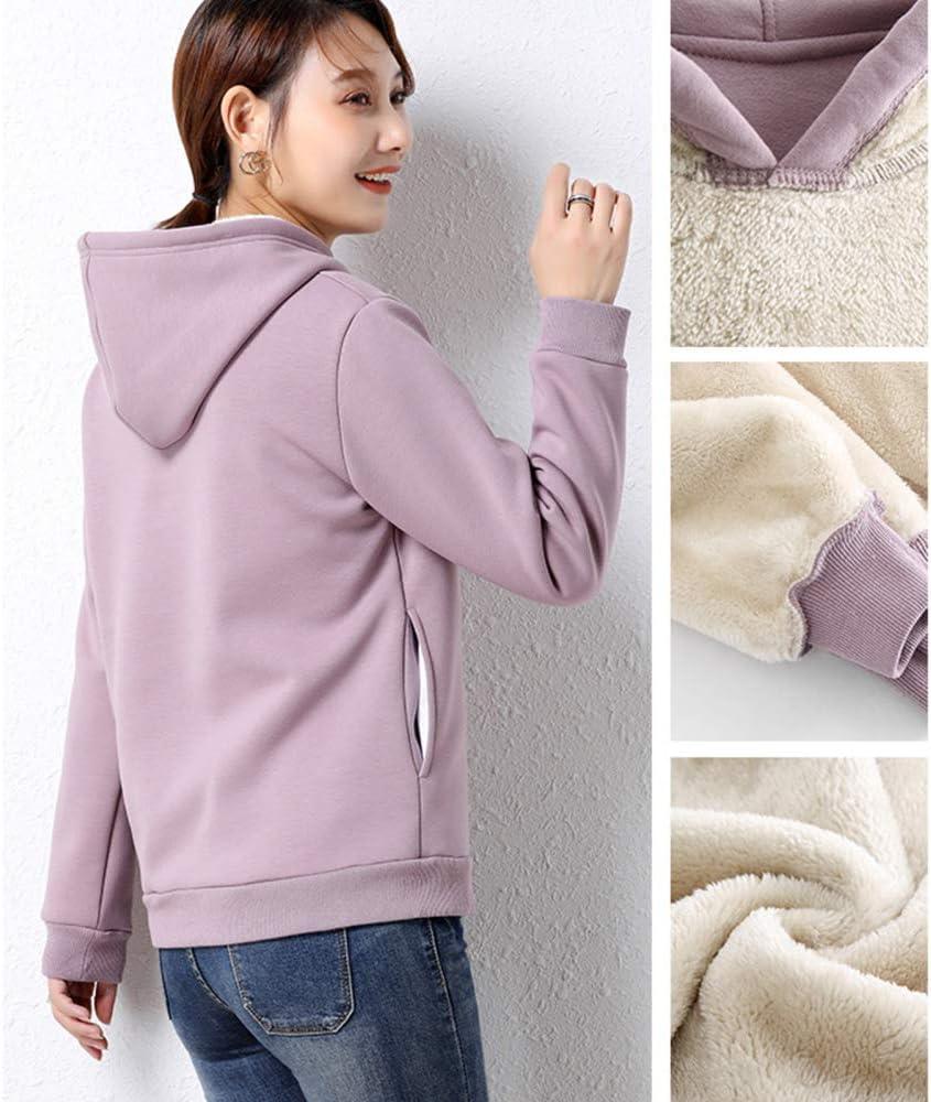 TRGCJGH Sweat Ample en Laine d'agneau Chaud Col Rond Dames Plus Pull épais en Velours Haut pour Femmes,Purple-XXL Apricot-xl
