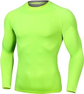 قمصان للجري بأكمام طويلة للرجال من Outto ملابس رياضية ذات طبقة أساسية مضغوطة