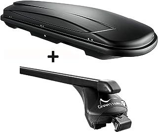 VDP Dachbox schwarz Juxt 400 Dachkoffer 400 Liter abschließbar + Relingträger aufliegende Reling kompatibel mit Volvo XC60 ab 2008 bis