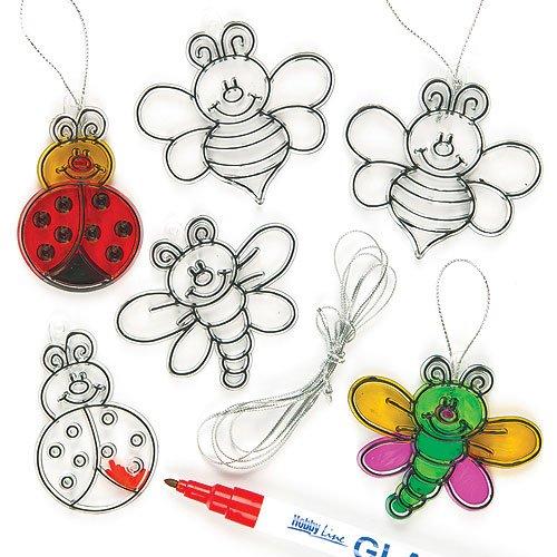 Baker Ross Kleine Suncatcher-Anhänger aus Acrylglas zum Aufhängen und Dekorieren - Insekten - Käfer - Biene - für Kinder zum Basteln (12 Stück)