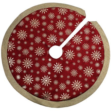 18-Inch Mini Tree Skirt for Mini / Tabletop Christmas Trees - Burgundy Red and Gold Burlap Like Design with Printed Gold Snowflakes