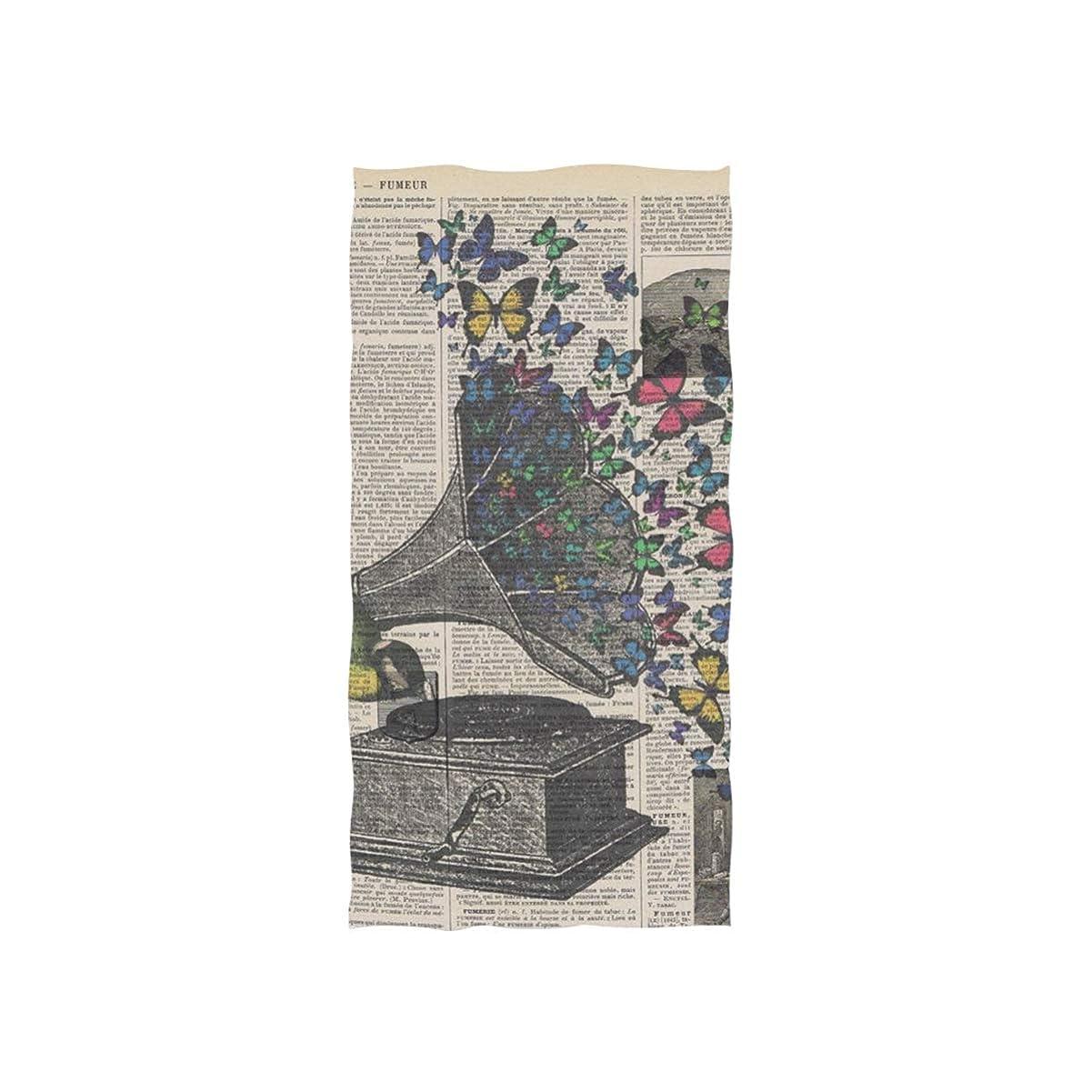 失望パースブラックボロウ村フェイスタオル カラフルの蝶 蓄音機 タオル マイクロファイバー 乾き早い 吸水 抗菌防臭 柔らか肌触り ふわふわスポーツタオル 業務用 家庭用 約76cm x 38cm