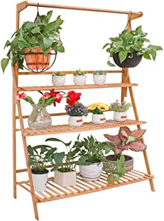 Moutik Bamboo Planter Pot Plants Stand Folding 3 Tier Hanging Flower Display Shelving Organizer Storage Shelves Rack Unit Holder 39.3in
