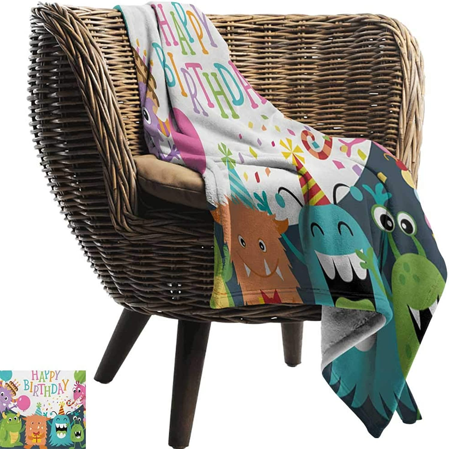 BelleAckerman Travel Throw Blanket,Kids Birthday,Little Baby Monsters with The Party Cones Confetti Rain and Balloons Image,Multicolor,Super Soft and Warm,Durable Throw Blanket 35 x60