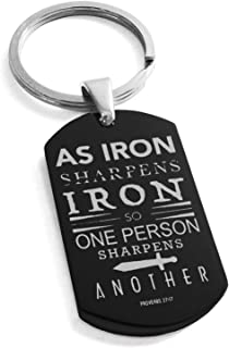 Tioneer Stainless Steel As Iron Sharpens Iron Proverbs 27:17 Dog Tag Keychain Keyring