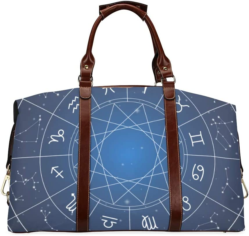 cheap Some reservation Men Travel Duffel Bag Zodiac Circle Astrology Dark On Sings Clas