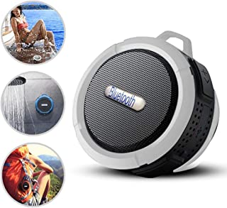 (White) Waterproof Bluetooth Speaker for Pixus Vision Loud HD Sound, Shower Speaker with Suction Cup & Sturdy Hook,Compati...