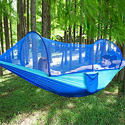 LLSS Double Hammock Hanging Swing Bed with Mosquito Net + Camping Tent Canopy Parasol Perfect for Outdoor Gardens Camping