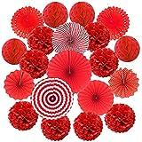 ZERODECO 20 Stück Seidenpapier Pompoms, Papier Fans Fächer und Wabenbälle Dekorpapier Kit für Geburtstag Hochzeit Baby Dusche Parteien Hauptdekorationen - Rot