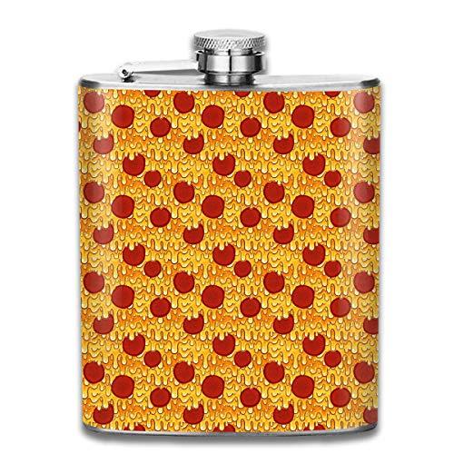 iuitt7rtree Pepperoni Pizza Stainless Steel Flask Wearproof 7OZ Hip Flask Flat Liquor Flask Whiskey Wine Flagon Mug