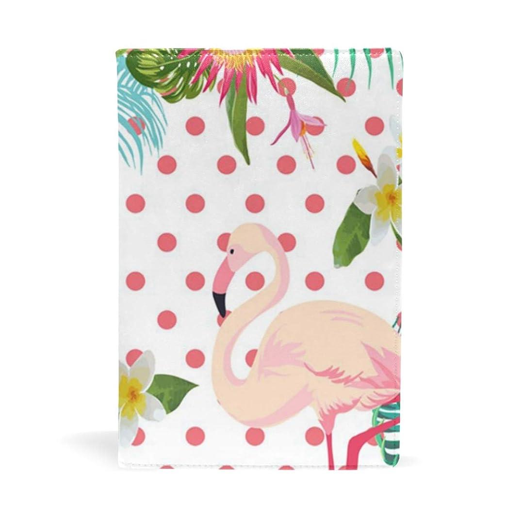 それにもかかわらずストライド置き場熱帯の花とピンク フラミンゴ ブックカバー 文庫 a5 皮革 おしゃれ 文庫本カバー 資料 収納入れ オフィス用品 読書 雑貨 プレゼント耐久性に優れ