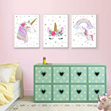 "EVAIL Unicorn Wall Posters Rainbow Unicorn Canvas Wall Art Prints Painting Decoration Pictures Set of 3 (8""x11.8"" for Girl..."