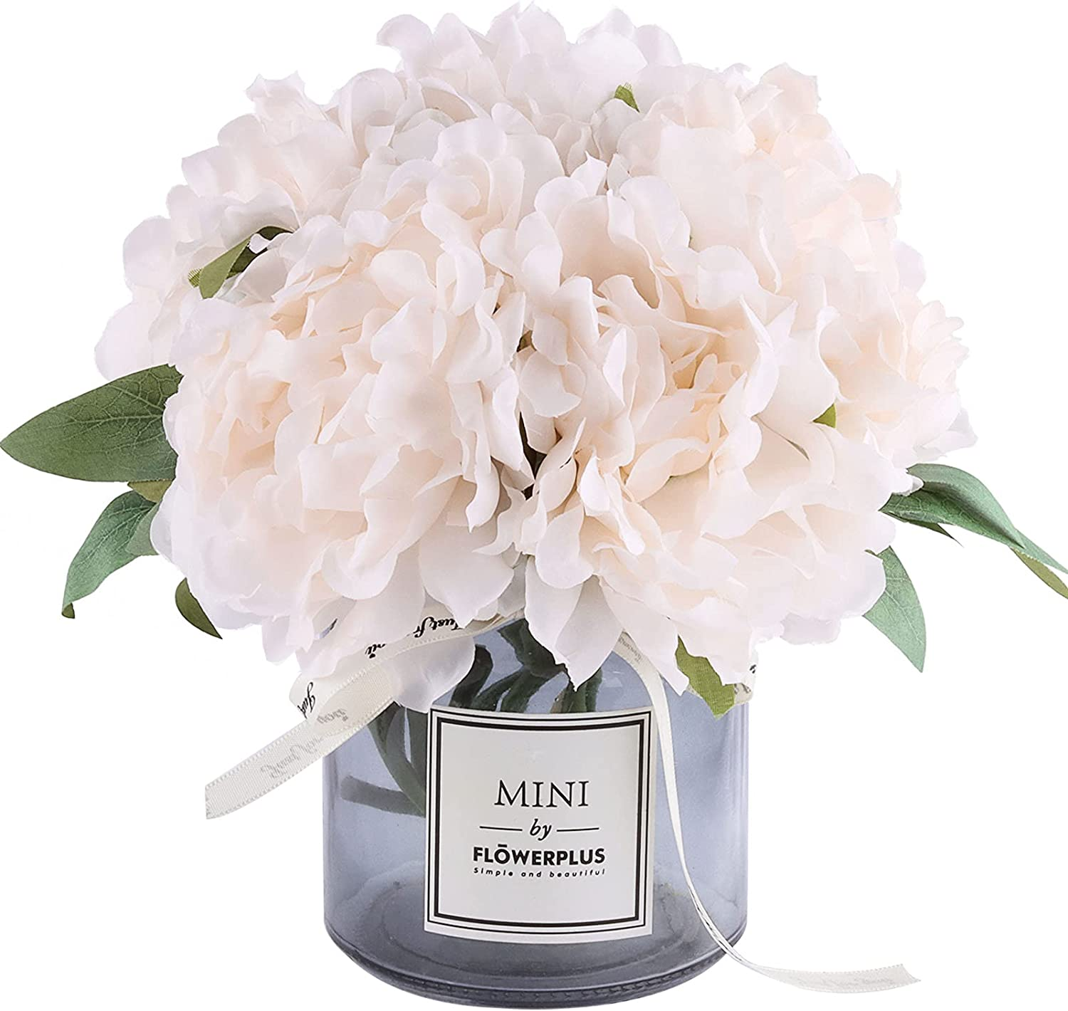 NA Artificial Flower and Glass vase, Isn Style Artificial Rust Ball Glass Bottle Set, Suitable for Living Room, Dining Table, Office, Wedding, Hotel Banquet and Family Decoration. (Ivory)