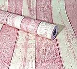 shop ペガ蔵 PEGAZOU™(ペガ蔵) はがせる壁紙 壁紙シール 地中海風 アンティーク 木目 黄 & 赤 45cm×10m DIY