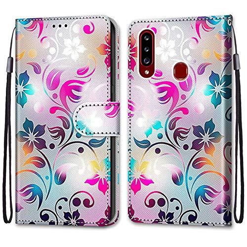 Nadoli Handyhülle Leder für Samsung Galaxy A20S,Bunt Bemalt Gradient Bunt Blumen Trageschlaufe Kartenfach Magnet Ständer Schutzhülle Brieftasche Ledertasche Tasche Etui