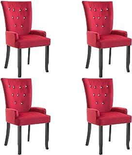 pedkit Sillas de Comedor Sillas Cocina Sillas Salon con reposabrazos Terciopelo Rojo 4 Unidades