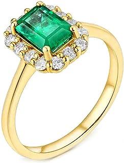 Daesar Anelli Oro Giallo Donna 18Kt, Anello Promessa Matrimonio Anello Smeraldo Donna 0.9ct Rettangolo Anelli Fidanzamento...