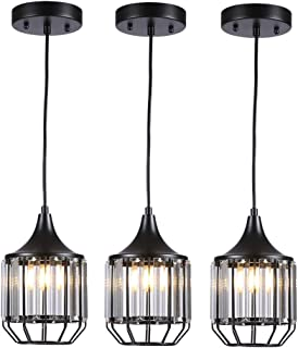 Cuaulans 3 pack Industrial Caged Crystal Pendant Light, Black painted Ceiling Hanging Pendant Lighting Fixture with Adjustable Cord