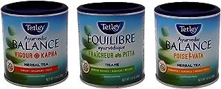 Tetley Ayurvedic Balance Tea 3 Flavor Variety Bundle, 1 each: Vigour Kapha, Cool Pitta, Poise Vata (20 Count)