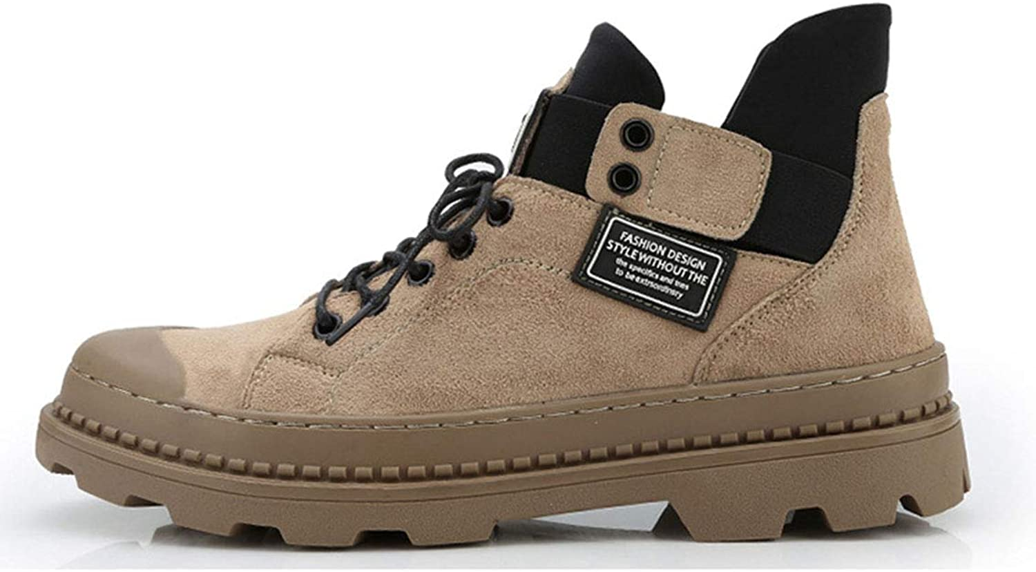 Men's Martin Boots Leather matteThick Base Increased Cotton shoes lace up Waterproof Padded Casual shoes Autumn and Winter Outdoor