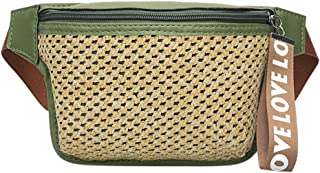 Bambus ♛ Fashion Straw Fanny Pack for Women & Men Classic Woven Wild Waist Bag Messenger Bag Chest Bag for Summer Beach