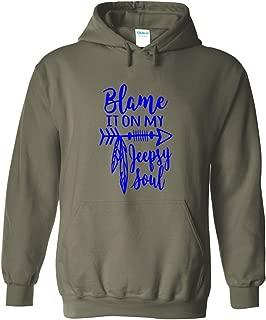 Karma t shirts Blame It On My Jeepsy Soul   Jeep Lovers   Blue Design   Womens Hoodies