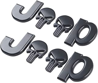 Yuzlder Jeep Logo 3D Metal for Skull Logo Car Side Fender Rear Trunk Emblem Badge Decals for Chrysler Jeep Grand Cherokee Wrangler Compass Cherokee Renegade Patriot Grand Commander Decoration (2 pack)
