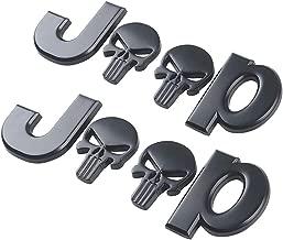 Yuzlder Jeep Logo 3D Metal for Skull Logo Car Side Fender Rear Trunk Emblem Badge Decals for Chrysler Jeep Grand Cherokee Wrangler Compass Cherokee Renegade Patriot Grand Commander Decoration (2 pack)
