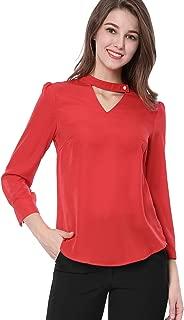Women's Choker V-Neck 3/4 Sleeve Elegant Work Blouses Tops