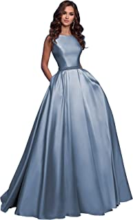 Elleybuy Women's A-Line Sleeveless Beaded Satin Long Prom Dress with Pockets Open Back Formal Evening Gown 2020