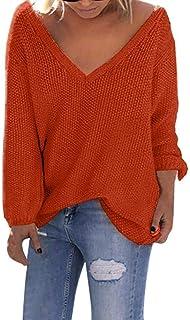 Suéter De Punto Mujer para Suéter Sudadera Cárdigan Suéter Tamaños Cómodos con Cuello En V Profundo Jersey De Punto Suéter...