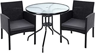 Gardeon Outdoor Furniture Dining Chairs Wicker Garden Patio Set Black 3pcs with Table