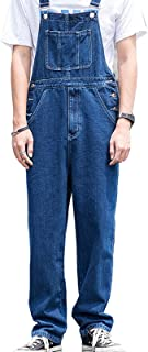 Suncolour Men's Denim Dungarees Work Bib Overalls Mens Jeans Bib Rompers Loose Fit Cargo Workwear Rompers