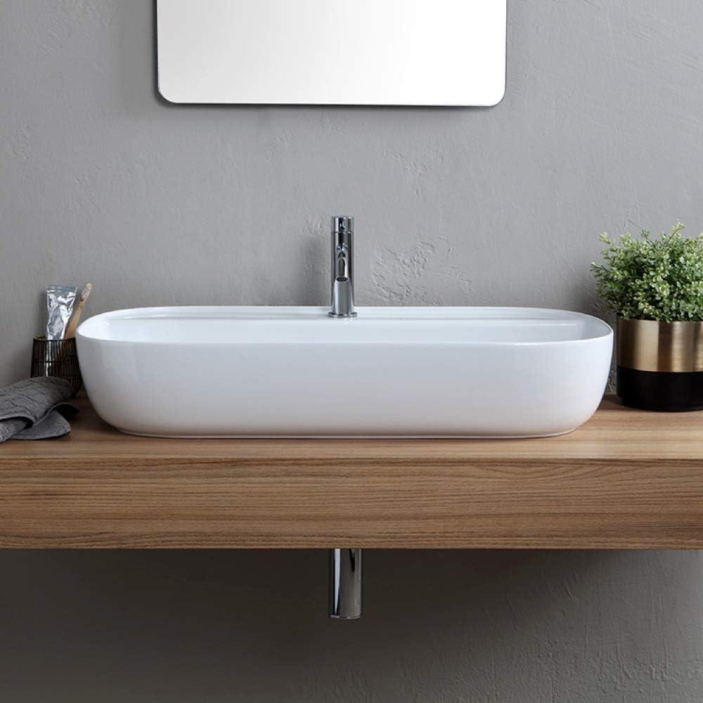 Bathroom Fixtures One Scarabeo 1801 Hole Sink White Kitchen Bath