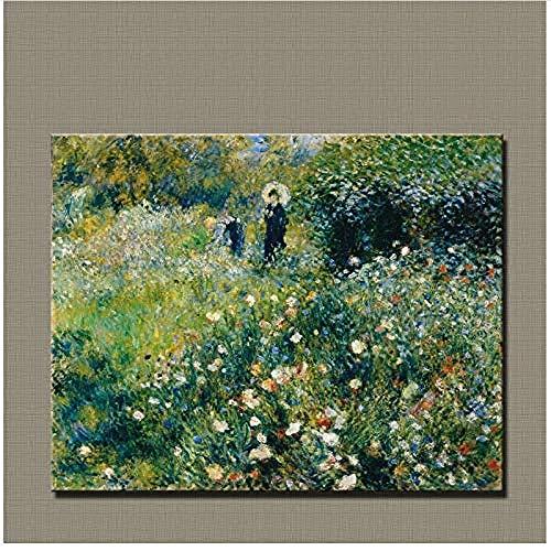 Canvas print,schilderij kunst impressionisme Schilderij Vrouw met een parasol in tuin 1875 voor thuis wonen-50x70cm