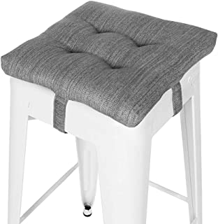 baibu Square Seat Cushion, Super Soft Bar Stool Square Seat Cushion with Ties - One Pad Only, Gray (12'' (30CM))