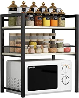 Multi-usages Cuisine Rack Durable Kitchen Baker Rack Noir En Acier Inoxydable 3 Niveau Micro-ondes Support Rack De Rangeme...
