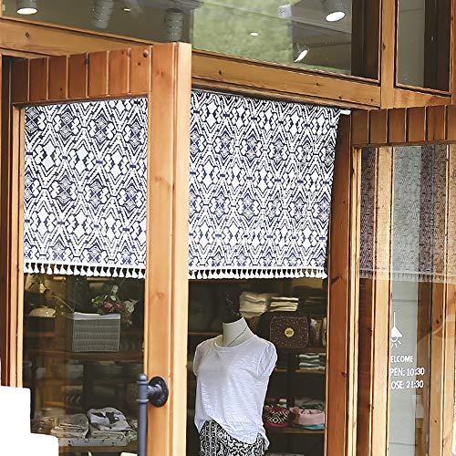 MANG Estilo Japonés Media Cortina De Lino De Algodón Bistro Cortina Cortinas De Puerta Cortinas De Cocina Cortinas para Armario Estantería Costura De Borla