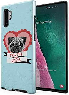 Cute Pugs & Kisses Love Heart Compatible with Samsung Galaxy Note 10 Plus Silicone Inner/Outer Hard PC Shell Hybrid Armor Protective Case Cover