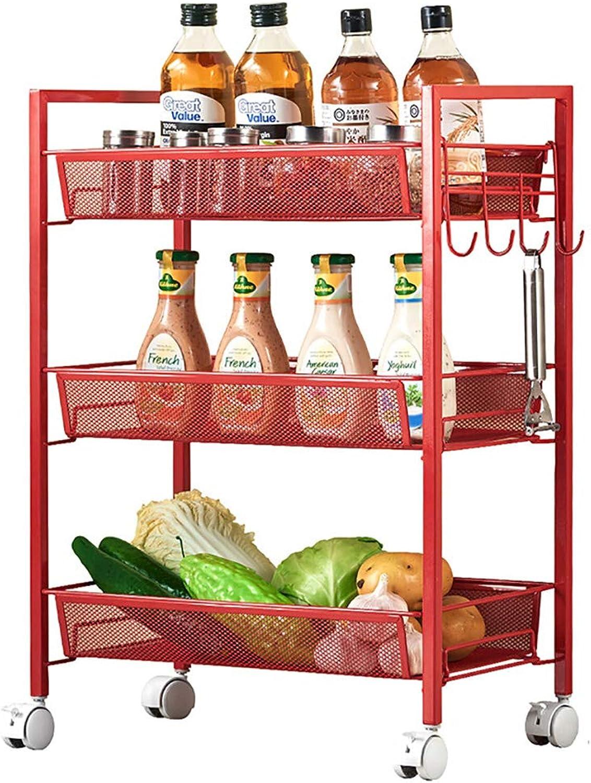 3 Storage Unit Mesh Serving Kitchen Rolling Trolley Multifunctional Basket Utility with Wheels Mobile Storage Shelf,Wine Cart, Tea Cart(Red)