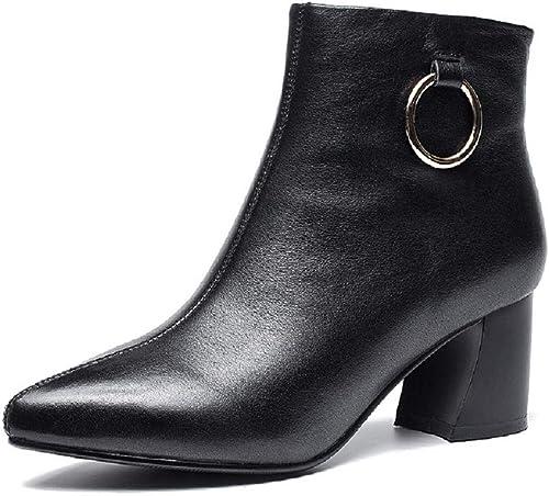 ZHRUI Bottes zippées à Talon Aiguille pour Femmes (Couleuré   Noir, Taille   EU 37)