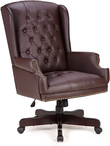 Belleze Executive Wingback Office Chair High Back Computer Tufted Thick Padded Faux Leather Wood Base Brown