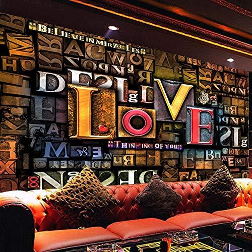Photo Wall Paper 3D Stereoscopic Embossed Creative Fashion English Letters Love Restaurant Cafe Background Mural Decor Fondo De Arte De Pared Wallpaper 350X256Cm