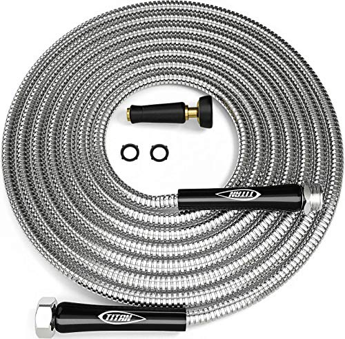 TITAN 15FT Garden Hose - Newest Metal Water Hose with Solid 3/4' Connectors, 360 Degree Brass...