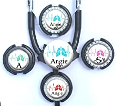 Personalized Respiratory Therapy Lungs Standard or Yoke Stethoscope Id Tag in 6 Color Choices
