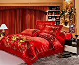 HNNSI 4pcs Wedding Bedding Sets Queen Size, Chinese Dragon and Phoenix Satin Lace Duvet Cover Set with Cotton Flat Sheet, Quit/Comforter Cover Sets, RED Bedding Sets (Queen, style6)