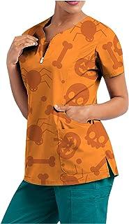 YOYHX Women Cartoon Halloween Print Scrub_Tops Working Uniform Short Sleeve V-Neck Tops Workwear T-Shirt Blouse with Pockets