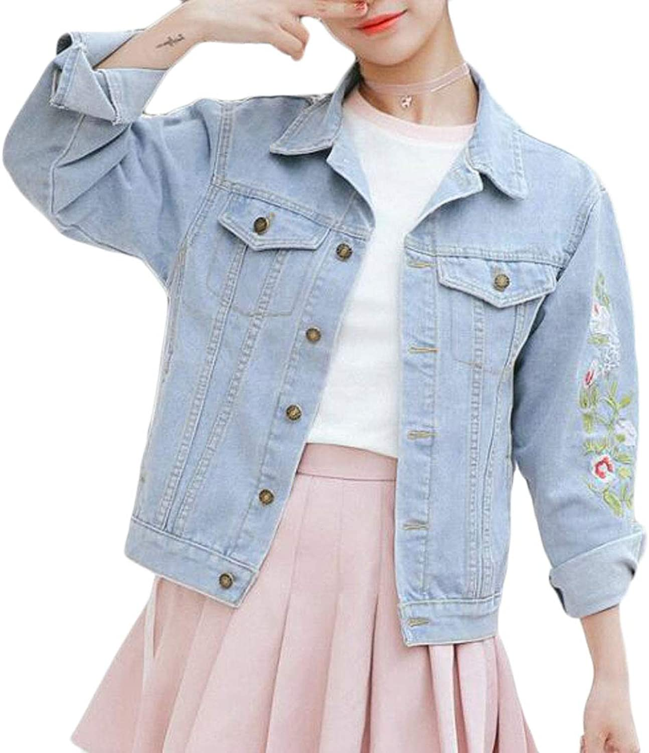 Cromoncent Women Embroideried Loose Fit Boyfriend Fall Casual Denim Jackets