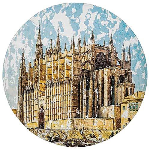 Round Rug Mat Carpet,Gothic Decor,Big Gothic Building Sea Sh